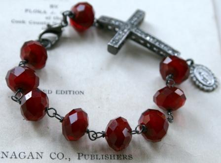 Blessed Bracelet in Vintage Red-bracelet, wirewrapped, vintage, cross, rhinestone, religios, oxidized sterling silver, red glass, feminine, wholesale, tippy stockton