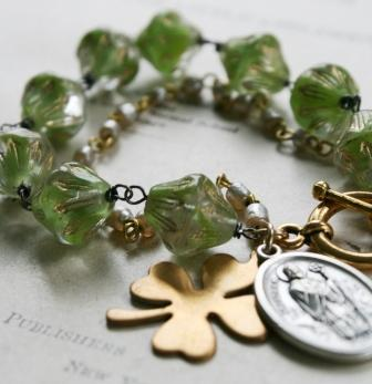 St. Patrick Bracelet-bracelet, wirewrapped, vintage glass, vintage japanese glass, vintage rosary chain, brass, oxidized sterling silver, st patrick, shamrock,