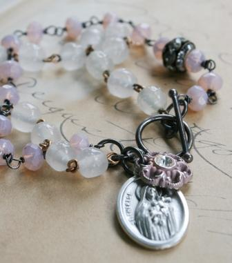 The St. Therese Bracelet-bracelet, vintage rosary chain, st. therese, little flower of jesus, vintage glass, button, easter, mother's day, wholesale, tippy stockton
