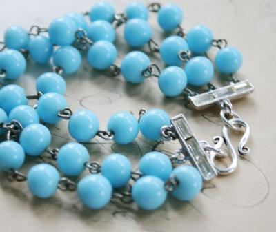 The Sylvie Bracelet-bracelet, rosary chain, aqua blue, vintage, feminine, pretty, summertime, sylvie, sterling silver, wholesale, tippy stockton