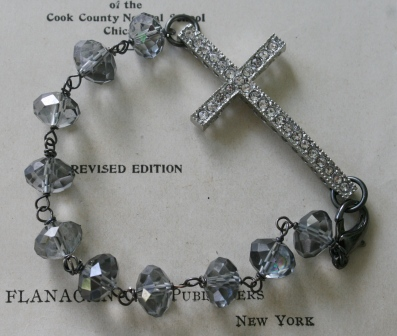 Blessed Bracelet in Grey-bracelet, wirewrapped, cross, crucifix, rhinestone, gray glass beads, oxidized sterling silver, tippy stockton, wholesale