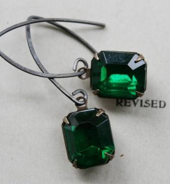 Emerald JEWEL Earrings-earrings, jeweltones, emerald green, emerald shape, oxidized sterling silver, fall, holiday, pretty, feminine, wholesale, tippy stockton