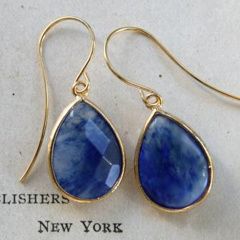 tippy stockton . la mer . matira . gold . earrings-earrings, gold, blueberry quartz, denim blue, la mer, matira, wholesale, tippy stockton