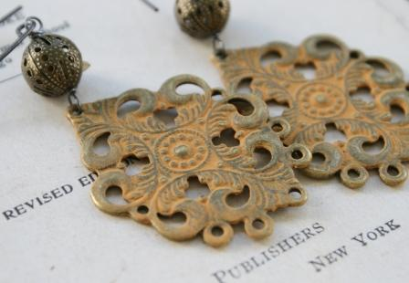 Ginger Filigree Earrings-earrings, filigree, spice, gold, oxidized sterling silver earwires, handpainted, fall, autumn, wholesale, tippy stockton