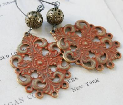 Spice Filigree Earrings-earrings, filigree, spice, pumpkin, fall, brass, handpainted, oxidized sterling silver earwires, wholesale, tippy stockton