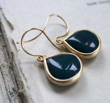 tippy stockton . la mer . brittany . gold earrings-earrings, denim blue jade, gold, la mer, beach, simple, feminine, holiday, wholesale, tippy stockton