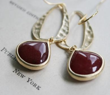 tippy stockton . la mer . paloma . gold . earrings-earrings, rusty red jade, hammered hoops, gold, holiday, christmas, feminine, wholesale, tippy stockton