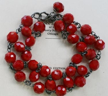 The Holly Bracelet-bracelet, wirewrapped, christmas red, holly, heart, oxidized sterling silver, feminine, wholesale, tippystockton