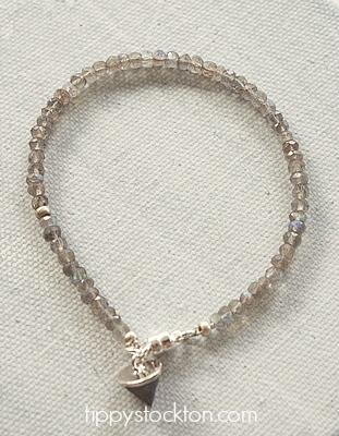 Labradorite Skinny Bracelet with Stone Charm