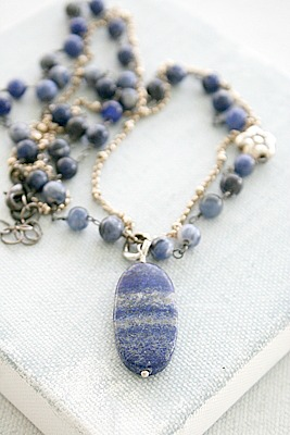 Lapis Mixed Metal Necklace - The Daria Necklace