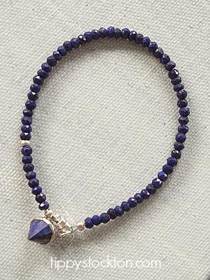 Lapis Skinny Bracelet with Charm