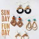 Rattan and Raffia Hoop Earrings - The Kendra Earrings