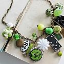 Market Day Trinket Necklace - Lime Soda Vintage Cap, Black and White Accents