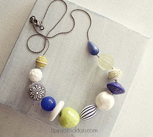 Market Day VintageLucite Necklace  - Royal Blue and Lime