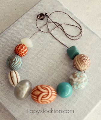 Market Day Vintage Lucite Necklace - Teal and Caramel