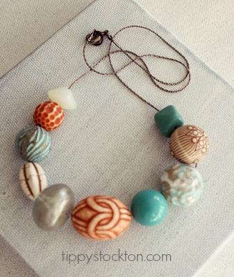 Market Day Vintage Lucite Necklace - Teal and Caramel