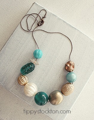 Market Day Vintage Lucite Necklace - Teal and Tan