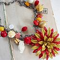 Market Day Vintage Trinket Necklace - Red and Sunflower Yellow