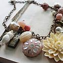 Market Day Trinket Necklace - Pink and Cream