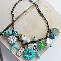 Market Day Trinket Necklace - Aqua and White OOAK Necklace