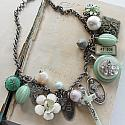 Market Day Trinket Necklace - Mint Green and Cream OOAK Necklace