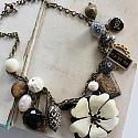 Market Day Trinket Necklace - Black and Cream