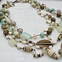 Mixed Gem and Brass 4 Strand Necklace - The Hayden Necklace