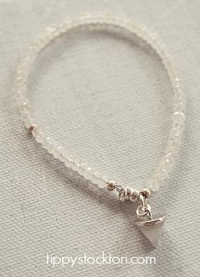 Moonstone Skinny Bracelet with Stone Charm
