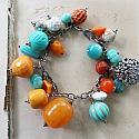 Market Day Trinket Bracelet - Orange and Aqua