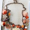 Market Day Trinket Necklace - Orange and Cream