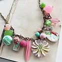 Market Day Trinket Necklace - Easter Pink and Green