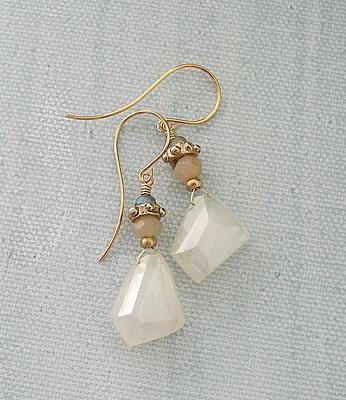 Milky Quartz Labradorite Moonstone Earrings - The Caren Earring