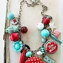 Market Day Trinket Necklace - Red, Aqua and White