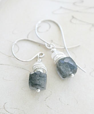 Rutiliated Quartz Moonstone Sterling Silver Earrings - The Kendra Earrings