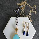 Turquoise and Lapis Mixed Metal Necklace - The Lorraine Necklace