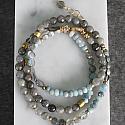 Labradorite, Aquamarine, and Mixed Glass Bracelet/Necklace - The Bekka Bracelet/Necklace