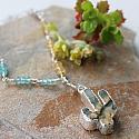 Citrine, Labradorite, Aqua Blue Quartz and Cactus Pendant - The Arizona Necklace