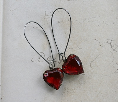 The Sweet Earrings - Vintage Glass on Oxidized Sterling Silver