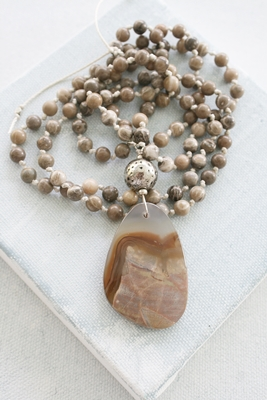 Natural Jasper and Agate Boho Necklace - The Tawny Necklace