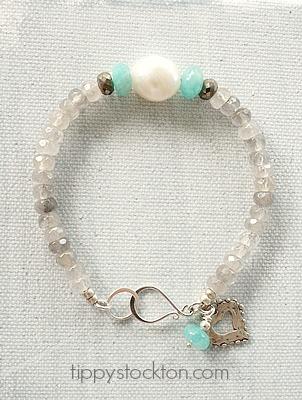 Gray Moonstone, Aquamarine, Fresh Water Pearl Bracelet - The Amber Bracelet