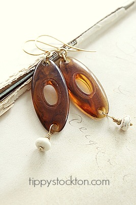 Vintage Lucite and Magnesite on Gold - The Amber Earrings