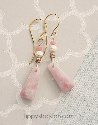 Pink Opal Stone and Pearl Earrings - The Anna Earrings