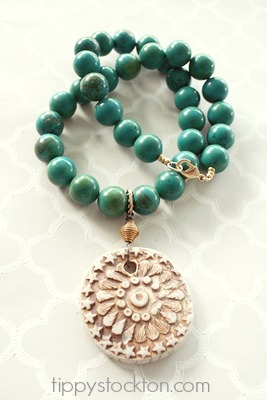 Turquoise and Vintage Pendant Necklace - The Aztec Necklace