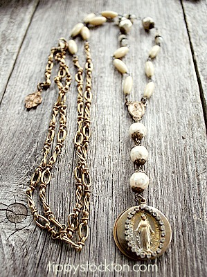 Vintage Slide Locket on Brass Necklace - The Blessed Necklace