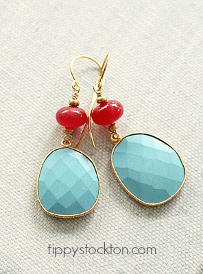 Turquoise and Pink Chalcedony on Gold - The Calypso Earrings