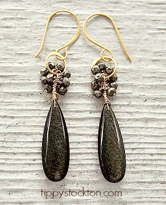 Golden Obsidian Drops with Pyrite on Gold Earrings - The Cara Earrings