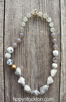 Agate, Moonstone and Labradorite Necklace - The Carmen Necklace