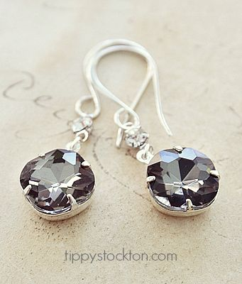 JEWEL Smoky Gray Vintage Jewel Earrings - The Carrie Earrings