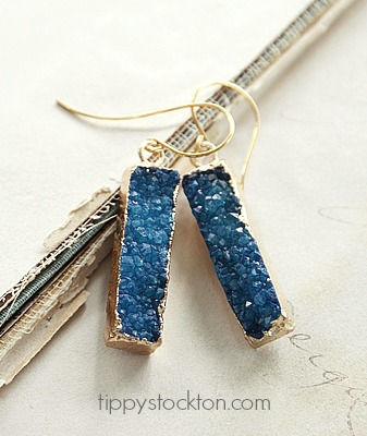 Long Teal Blue Druzy Bar Earrings - The Cassidy Earrings