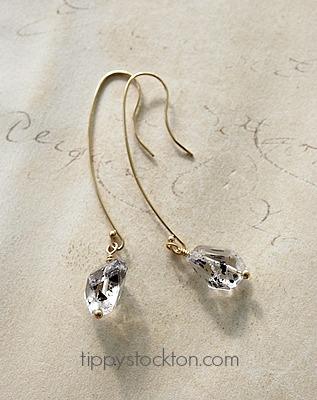 Herkimer Diamond Drops on 14kt Gold Earwires - The Cortland Earrings